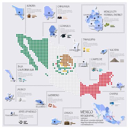 ドットとメキシコのインフォ グラフィック デザイン テンプレートの旗地図