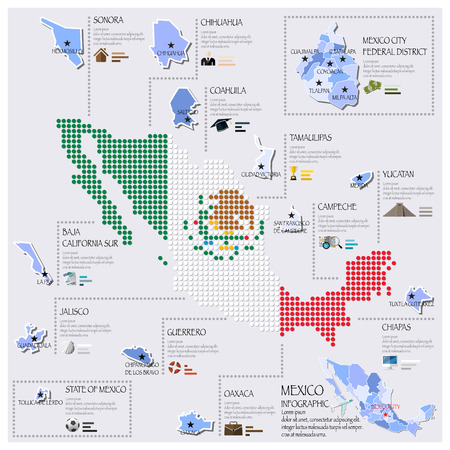 mexico map: Dot And Flag Map Of Mexico Infographic Design Template Illustration