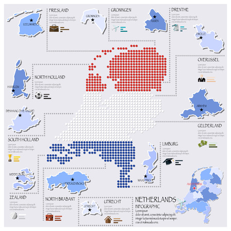 Dot And Flag Map Of Netherlands Infographic Design Template Vector