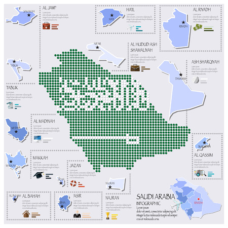 Dot And Flag Map Of Saudi Arabia Infographic Design Template Vector