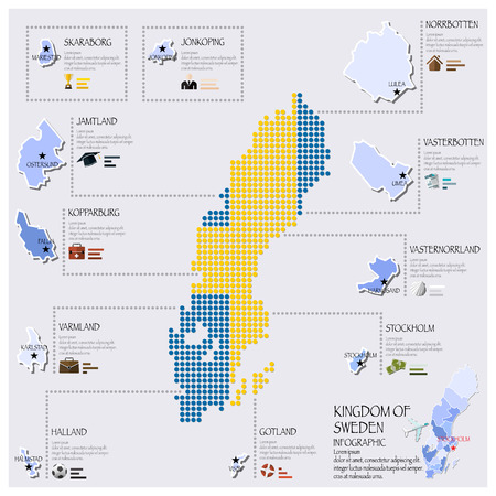 map sweden: Dot And Flag Map Of Sweden Infographic Design Template