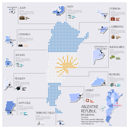map of argentina: Dot And Flag Map Of Argentina Infographic Design Template
