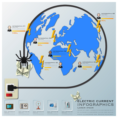 electric current: Electric Current And Equipment Earth Wire Line Business Infographic Design Template