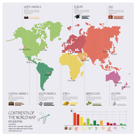 Dot Continent Of The World Map Infographic Design Template