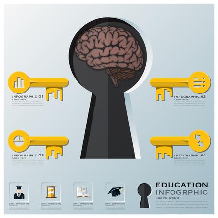 Bildung und Lernen Schl�sselform-Infografik Design-Vorlage Illustration