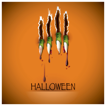 Halloween Festival Claw And Blood Background Design Vector