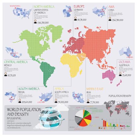 población: Mundial de la Población y densidad Infografía plantilla de diseño Vectores