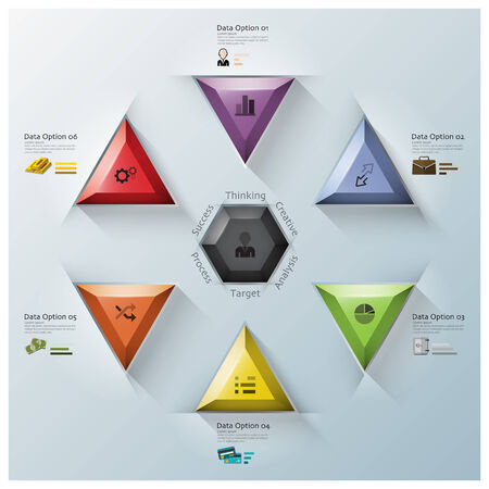 triangle button: Modern Fusion Triangle And Hexagon Business Infographic Design Template Illustration