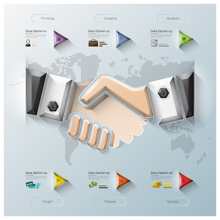 Hand Shake Three Dimension Polygon Business Infographic Design Template Vector