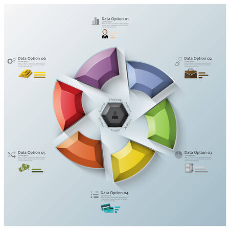 rotate: Modern Rotate Propeller Three Dimension Polygon Business Infographic Design Template Illustration