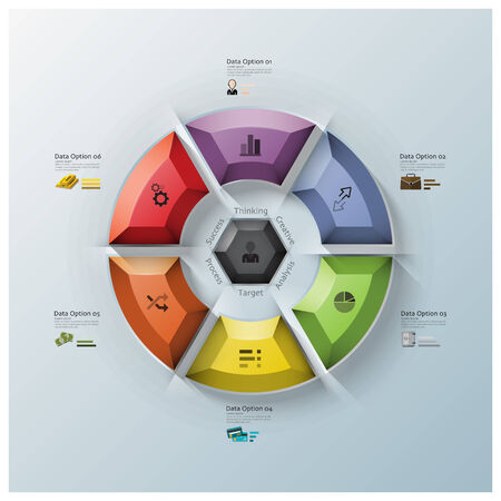 Modern Rotate Circle Propeller Three Dimension Polygon Business Infographic Design Template Vector