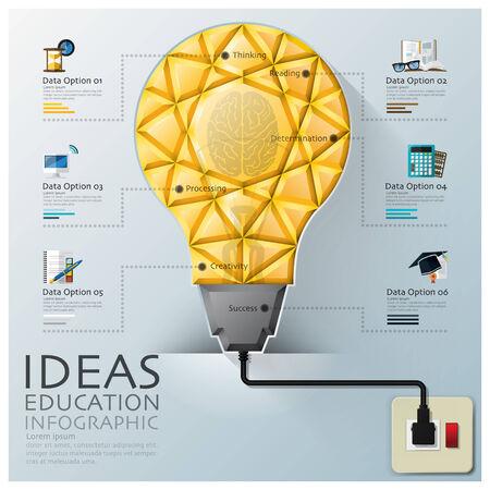 dimensions: Light Bulb Three Dimension Polygon Idea And Education Infographic Design Template