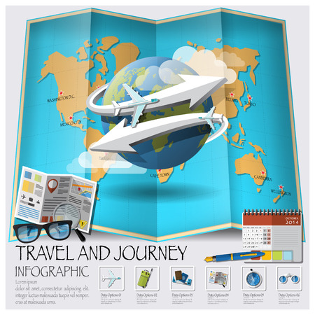 tour guide: Travel And Journey World Map Infographic Design Template