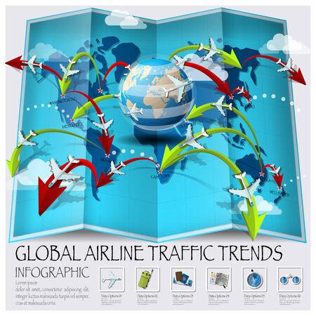 Weltkarte der globalen Airline Verkehrs Trends Infografik Design-Vorlage Illustration