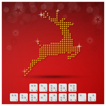 braille: Banner de fondo del alfabeto de Braille de Navidad con papel Estilo gráfico