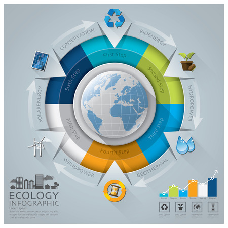 business environment: Global Ecology And Environment Conservation Infographic With Round Circle Diagram Design Template