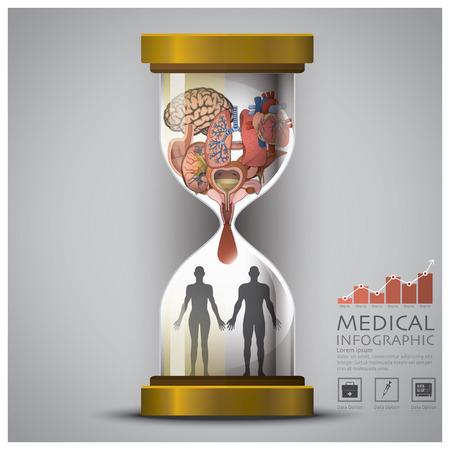 large intestine: Sandglass Health And Medical Human Organ Infographic Design Template