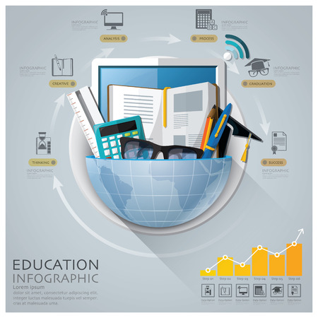 Global Education And Graduation Infographic With Round Circle Diagram