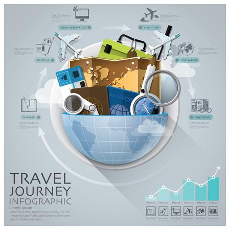 gezi: Yuvarlak daire Şeması ile Küresel Seyahat Ve Yolculuk Infographic Çizim