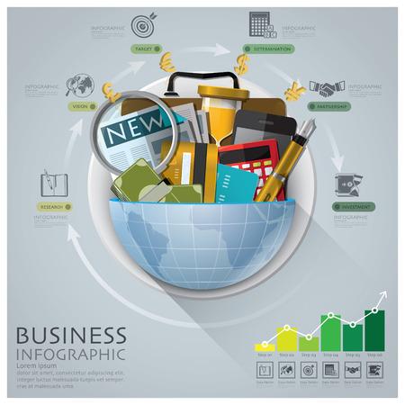 グローバル ビジネスと金融のインフォ グラフィック ダイアグラム ラウンド サークルで  イラスト・ベクター素材