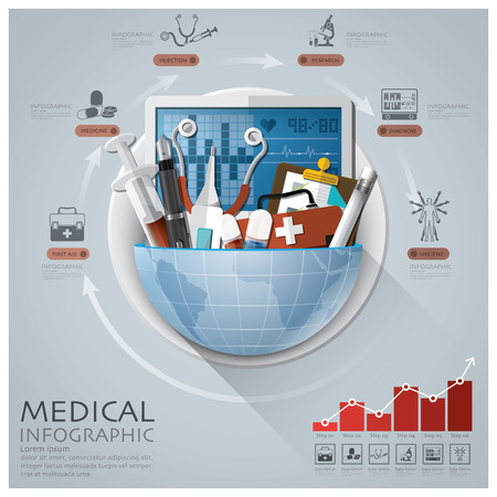 medical education: Global Medical And Health Infographic With Round Circle Diagram
