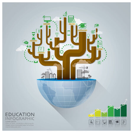 Global Education With Tree Diagram Creative Concept Infographic Vector