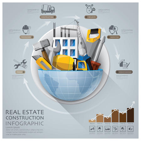 real estate background: Global Real Estate And Construction Infographic With Round Circle Diagram Design Template Illustration