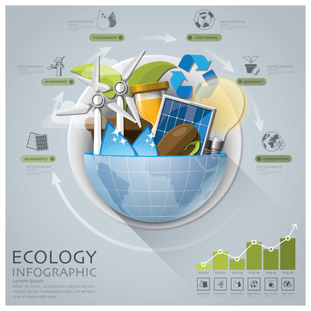 solarenergy: Global Ecology And Energy Infographic With Round Circle Diagram Design Template Illustration