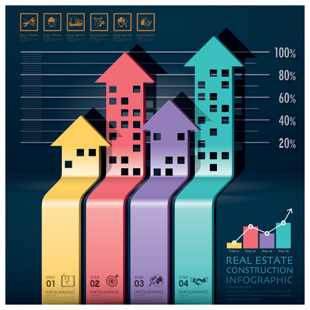Real Estate And Construction Infographic With Building Arrows Diagram Design Template 일러스트