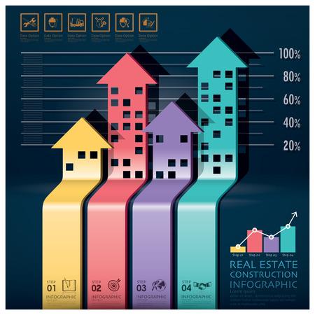 부동산 및 건설 인포 그래픽으로 건물의 화살표 다이어그램 디자인 템플릿