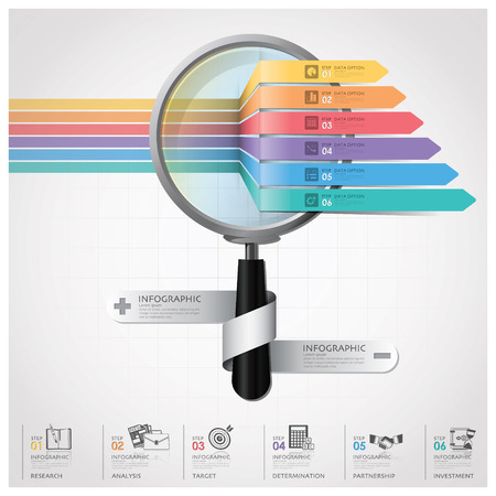 돋보기 화살표 다이어그램 디자인 템플릿과 함께 글로벌 비즈니스 및 금융 인포 그래픽 일러스트