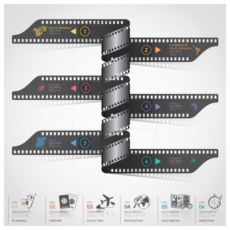 Travel And Journey Infographic With Spiral Film Diagram Design Template