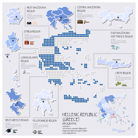 hellenic: Dot And Flag Map Of Greece Hellenic Republic Infographic Design Template
