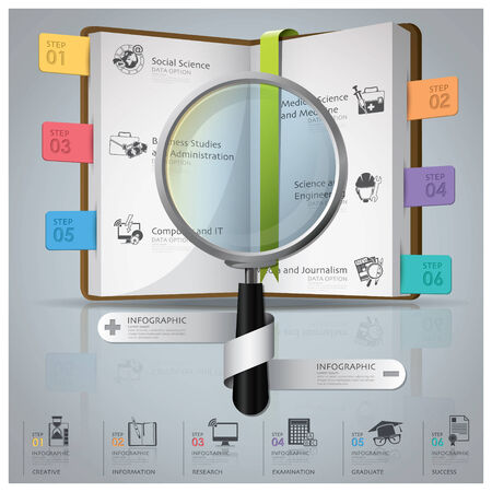Education And Graduation Infographic With Magnifying Glass And Book Icon Diagram Design Template