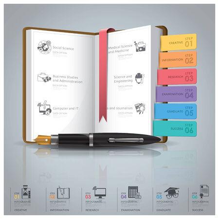 教育と本アイコン ダイアグラム デザイン テンプレートで卒業インフォ グラフィック  イラスト・ベクター素材