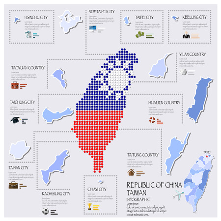 taiwan: Dot And Flag Map Of Taiwan Republic Of China Infographic Design Template