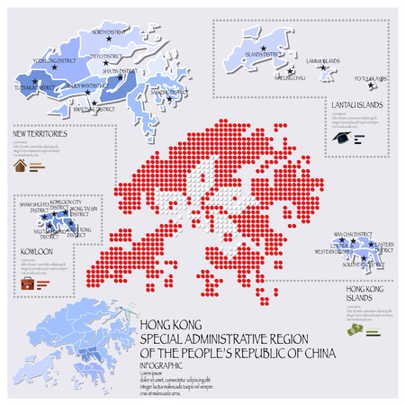 Dot And Flag Map Of Hong Kong Infographic Design Template