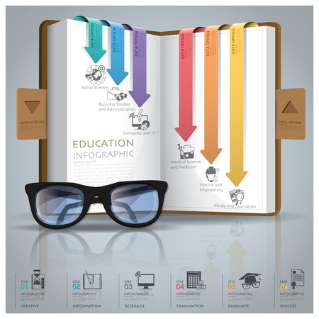 Bildung und Promotion-Infografik mit Liniendiagramm Pfeil Bookmark Design-Vorlage Illustration