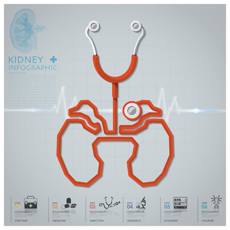 Kidney Shape Stethoscope Health And Medical Infographic Design Template 일러스트