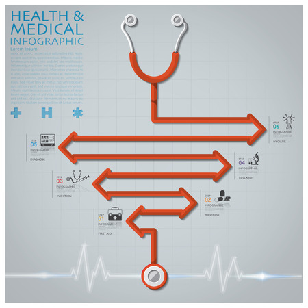 stethoscope icon: Line Arrow Diagram Stethoscope Health And Medical Infographic Design Template