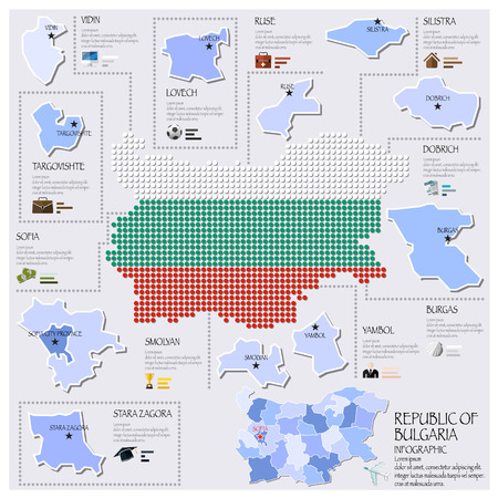 bulgaria: Dot And Flag Map Of Republic Of Bulgaria Infographic Design Template
