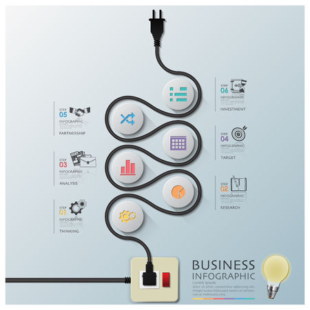 plug electric: Curve Electric Wire Line Diagram Business Infographic Design Template Illustration