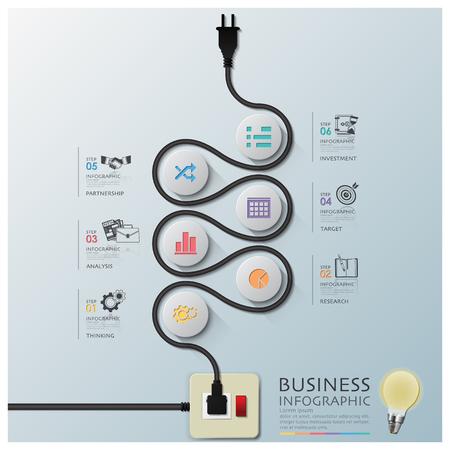 cables electricos: Plantilla Curve Electric Wire Diagrama Business Line Infograf�a Dise�o