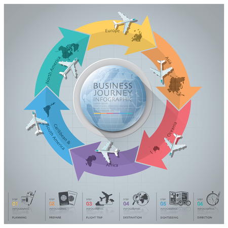 financial planner: Business Journey With Global Arrow Airline Continent Diagram Design Template Illustration