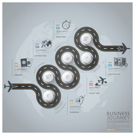 illustration journey: Business Journey With Global Airline Infographic Diagram Design Template