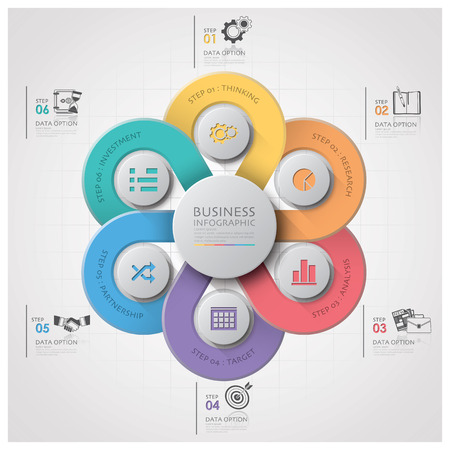 weaving: Business Infographic With Weaving Curve Circle Step Diagram Design Template Illustration