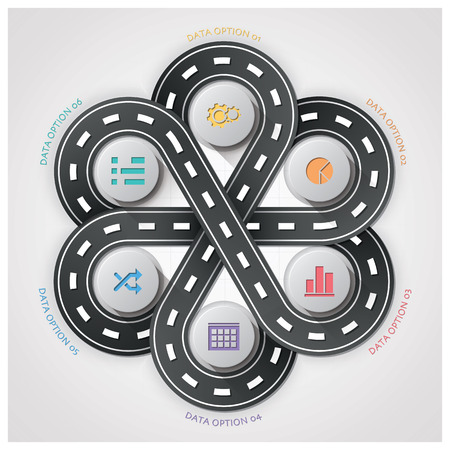 Road And Street Traffic Sign Business Infographic With Weaving Circle Diagram Step Design Template