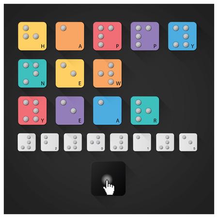 braille: Happy New Year 2015 With Braille Alphabet Design