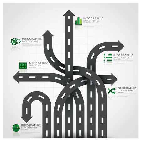 road traffic: Road And Street Traffic Sign Business Infographic With Weaving Arrow Diagram Design Template