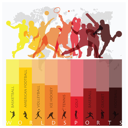 competitive sport: World Sport Isolate Action Icon Set Design Template